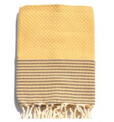 Serviette de bain bébé : rayée jaune