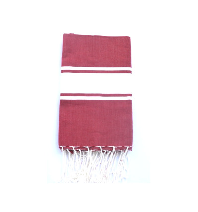 Fouta plate rouge et blanche