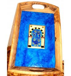 Plateau en bois : Bleu