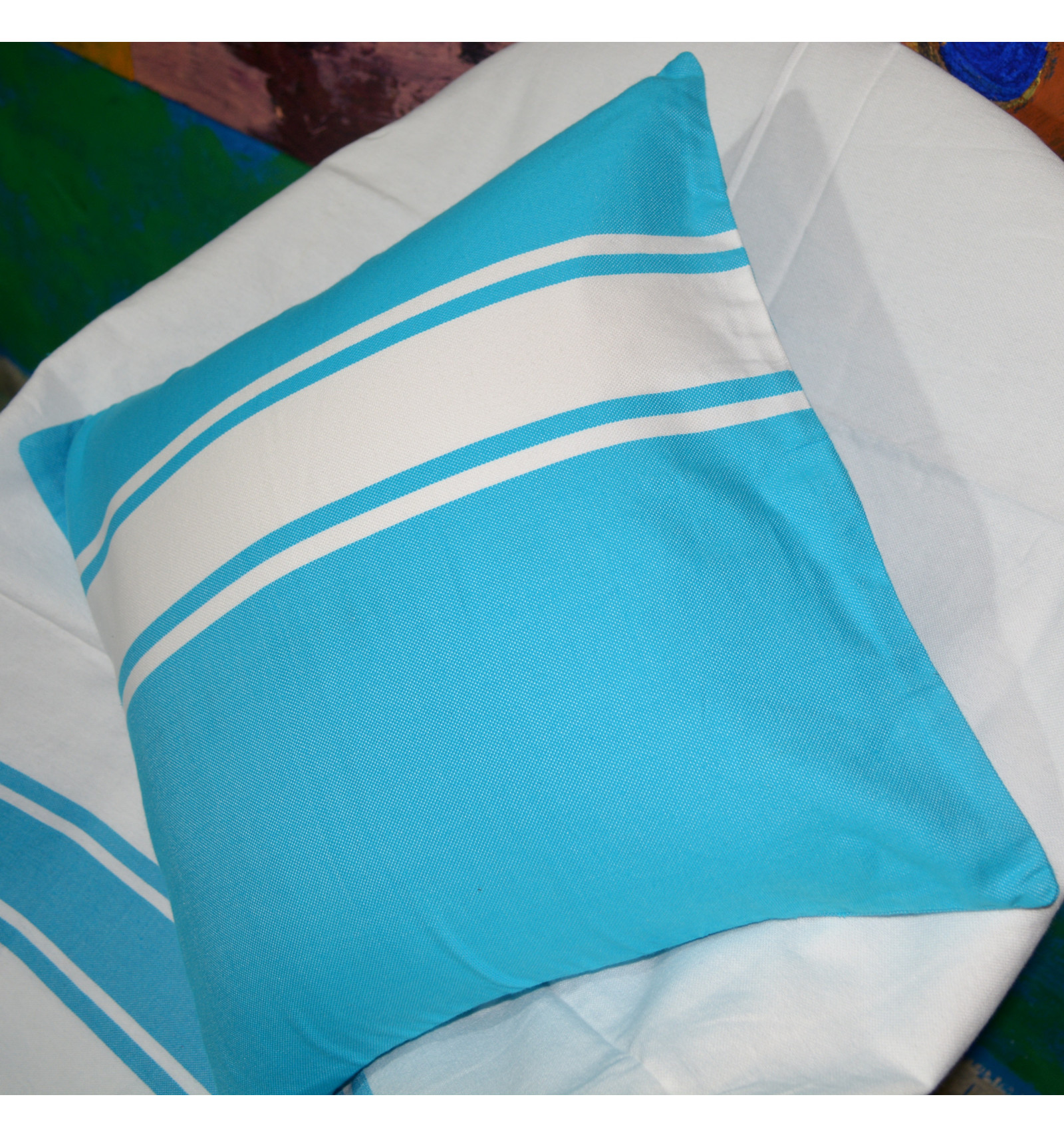 housse de coussin 40x40 fouta turquoise. Black Bedroom Furniture Sets. Home Design Ideas