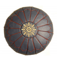 Leather pouf - Round leather ottoman blue