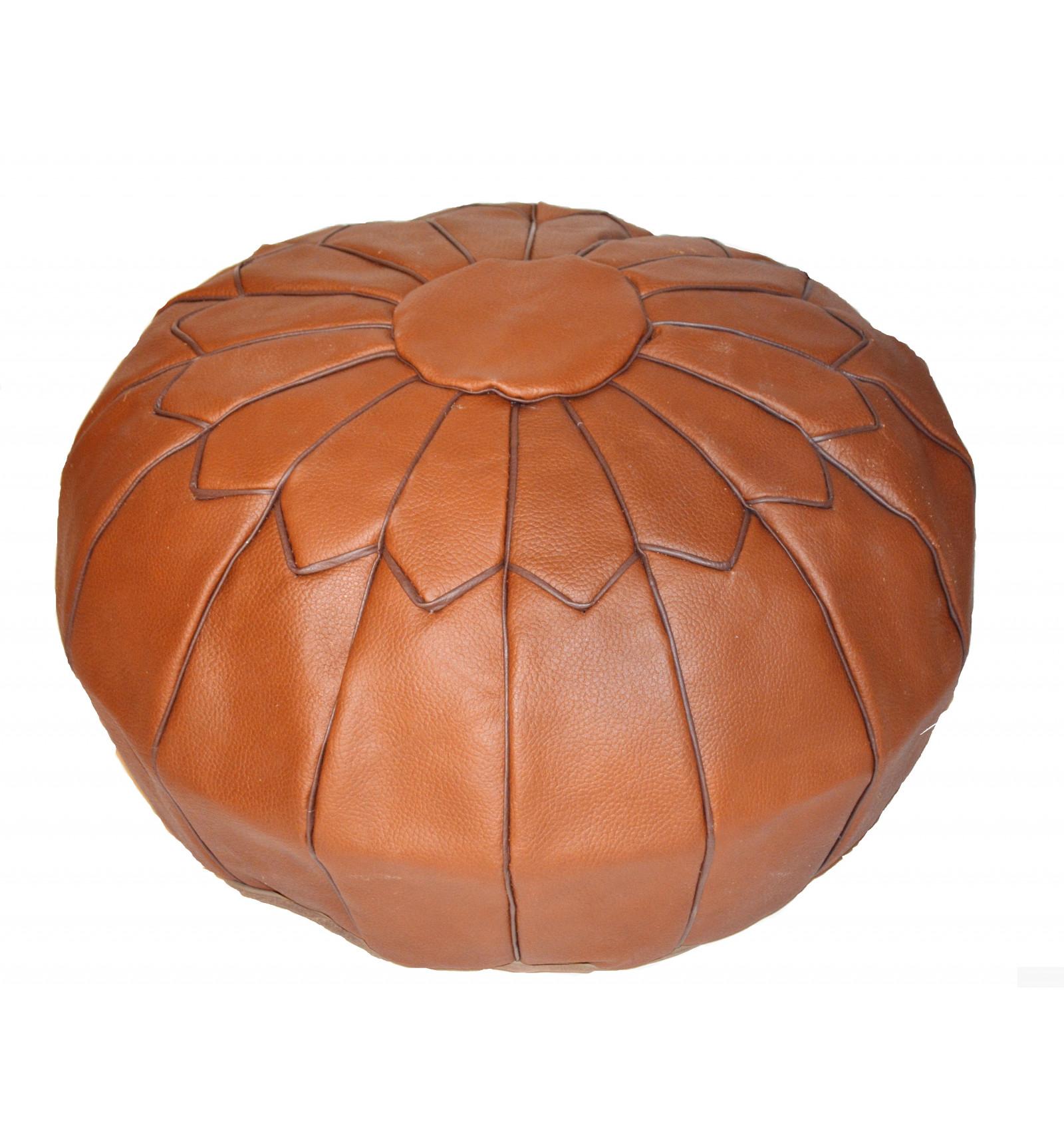 Design pouf pouf marocain en cuir marron - Pouf cuir marron chocolat ...