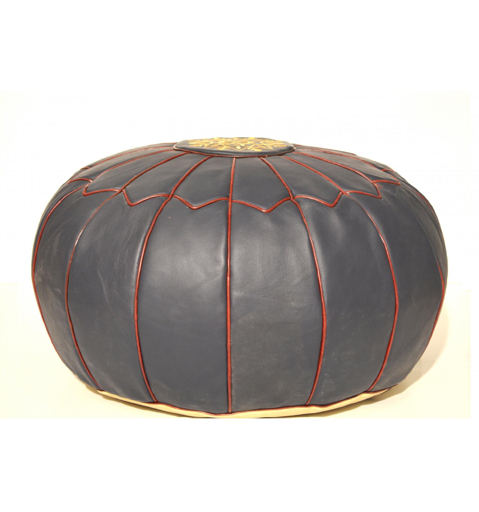 pouf design pouf marocain en cuir bleu. Black Bedroom Furniture Sets. Home Design Ideas