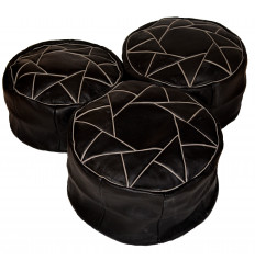 Leather pouf - Round leather ottoman Black