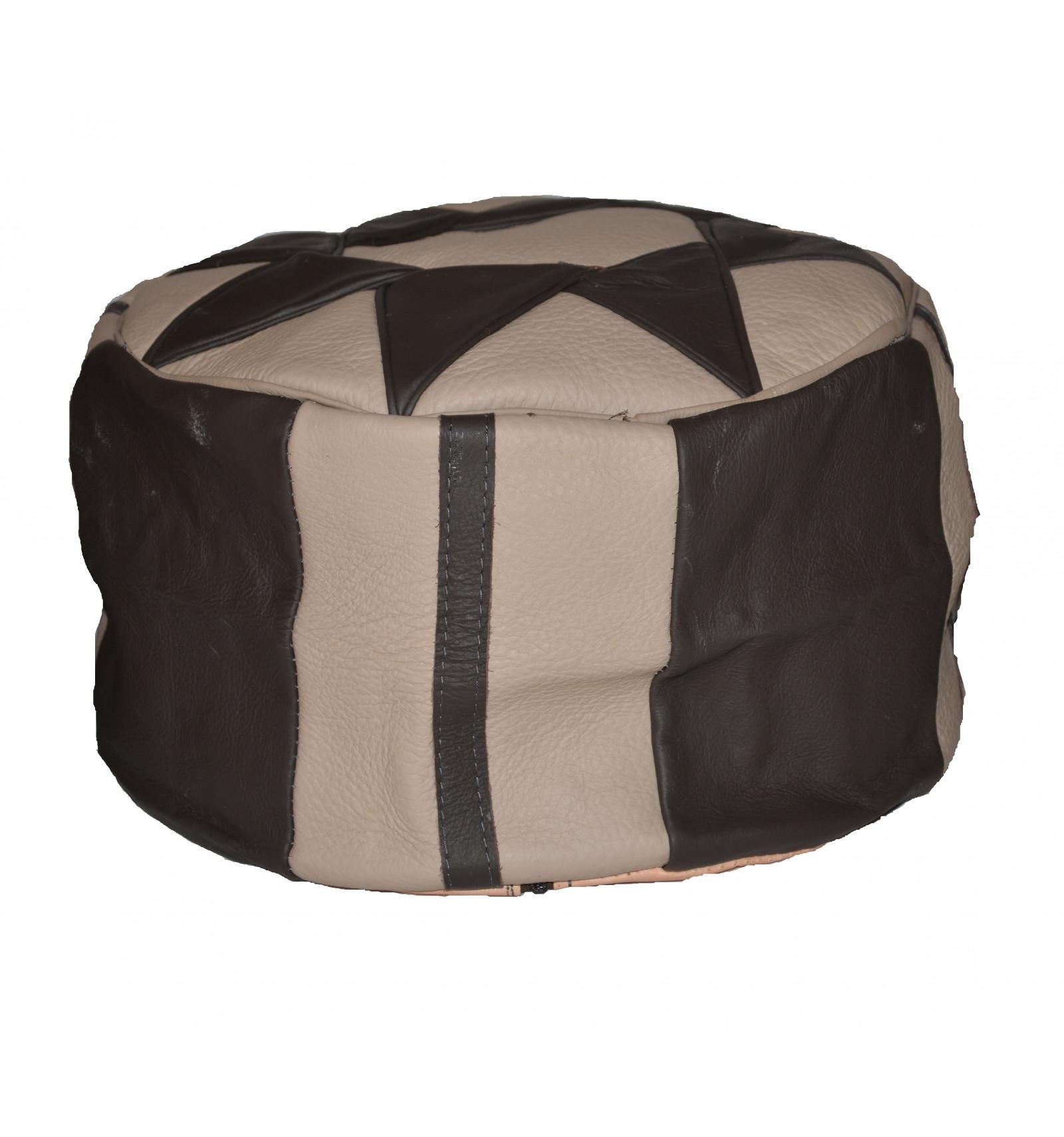 Lot 3 Pouf design  Pouf marocain en cuir Naturel & Noir