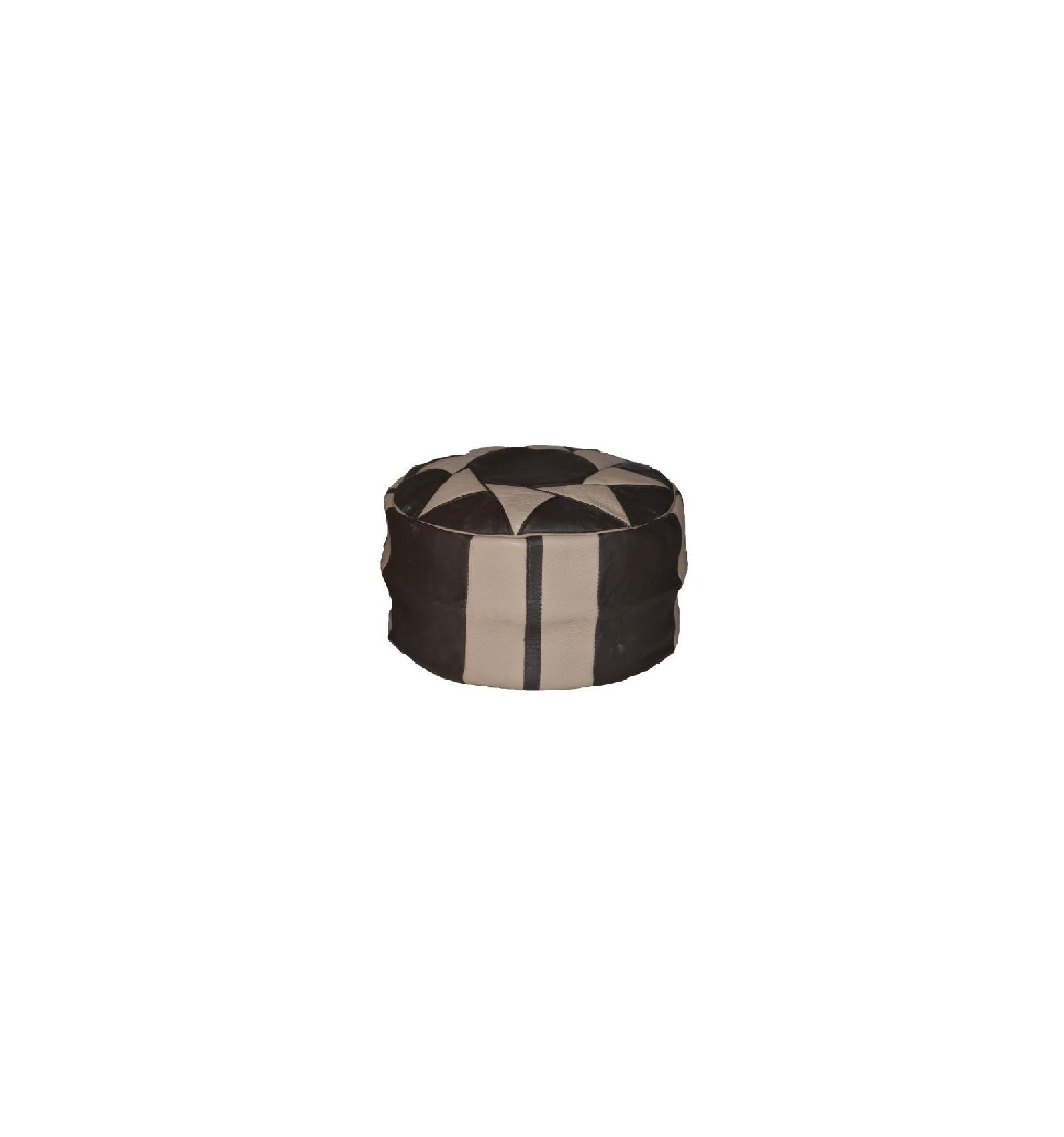 lot 3 pouf design pouf marocain en cuir gris noir. Black Bedroom Furniture Sets. Home Design Ideas