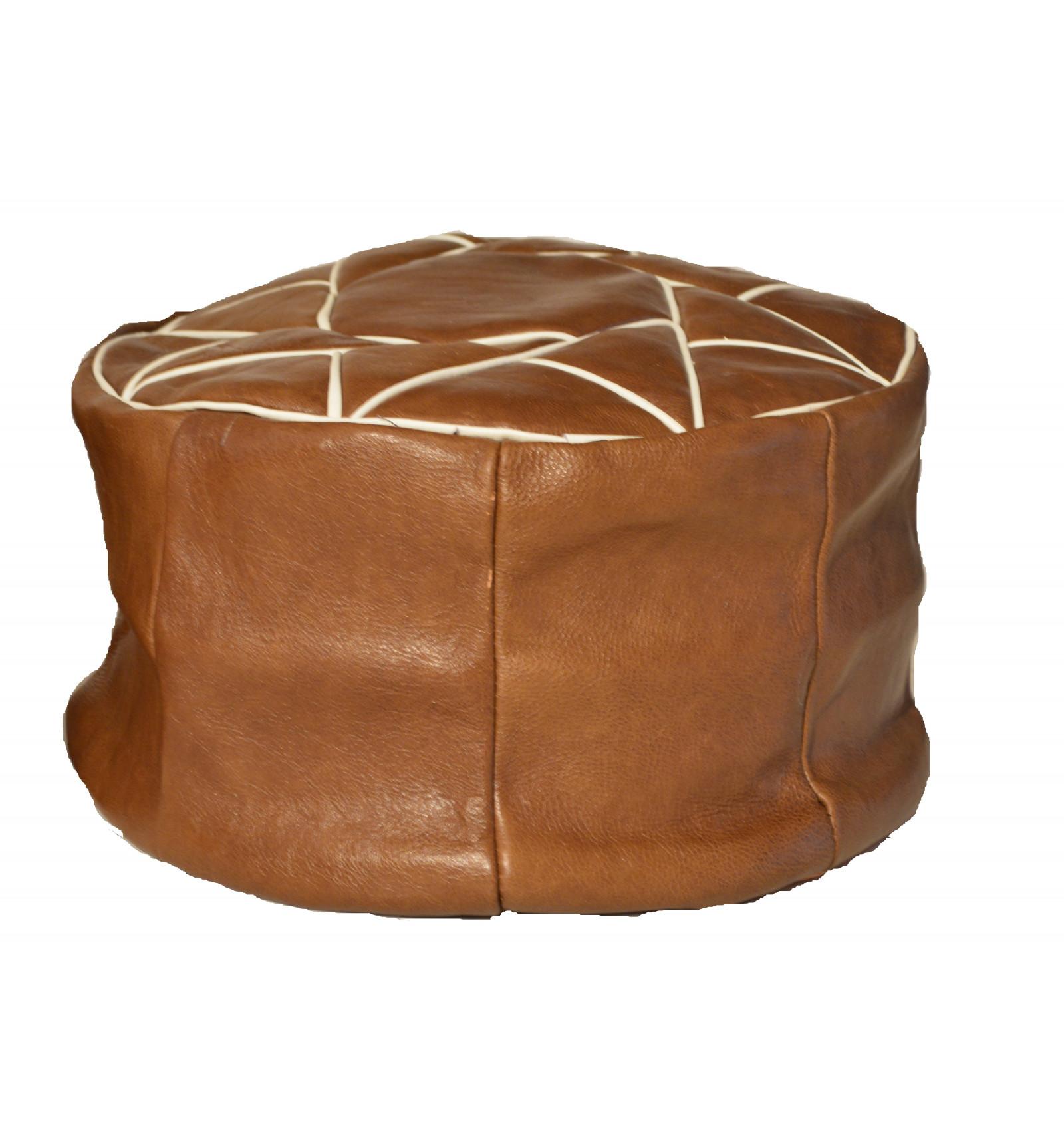 lot 3 pouf design pouf marocain en cuir marron lartisanet. Black Bedroom Furniture Sets. Home Design Ideas