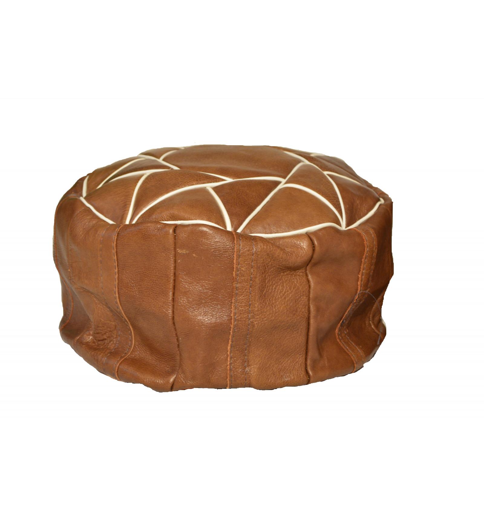 Lot 3 pouf design pouf marocain en cuir marron lartisanet - Pouf rectangulaire cuir ...