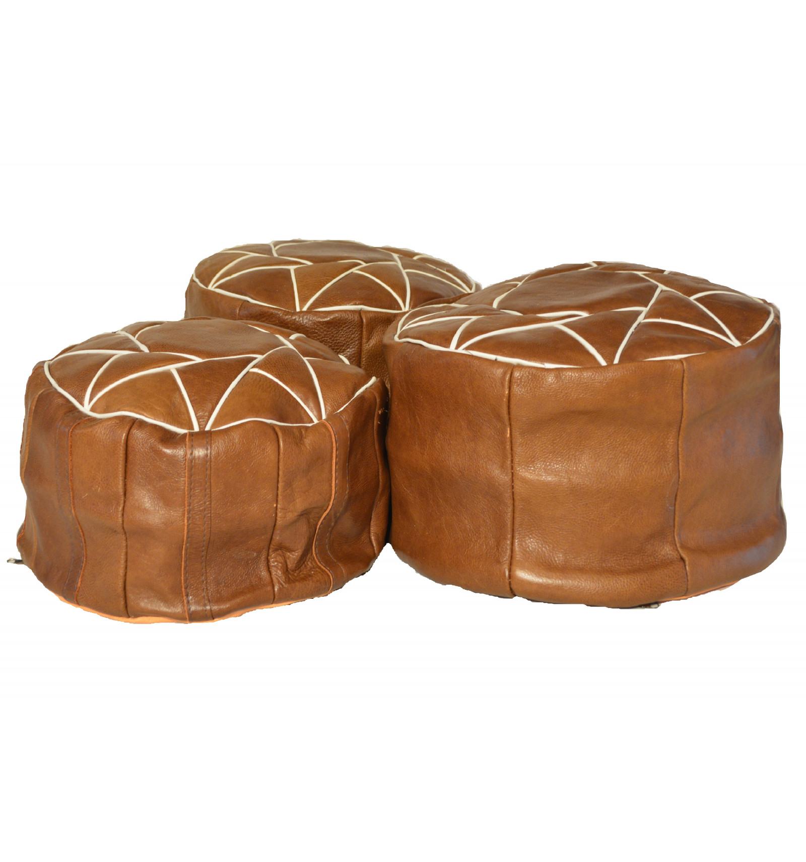 lot 3 pouf design pouf marocain en cuir marron lartisanet. Black Bedroom Furniture Sets. Home Design Ideas