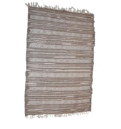Tapis gris et blanc : Kilim