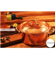 Martillado olla de cobre con tapa
