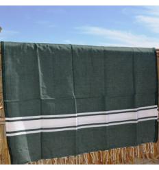 Turkish cotton towel green & white