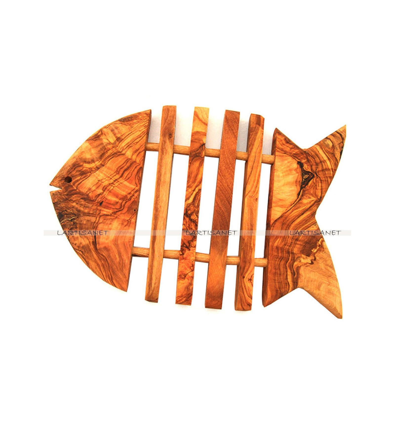 Dessous de plat poisson bois d 39 olivier - Dessous de plat bois ...