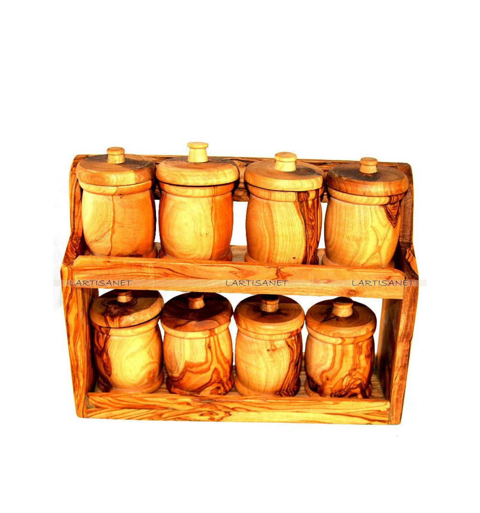 tag re pices en bois d 39 olivier 8 pots. Black Bedroom Furniture Sets. Home Design Ideas