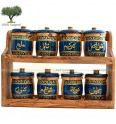 Étagère à épices en Bois d'olivier (8 Pots)