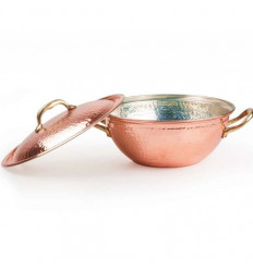Hammered red COPPER SOUP POT Tin Lined with lid