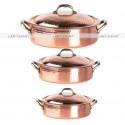 Sauteuse à poignées en cuivre martelé avec couvercle - Plat à sauter en cuivre étamé - poêle et casserole en cuivre