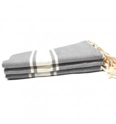 Fouta plate grise et blanche