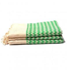 Fouta Green striped ziwane