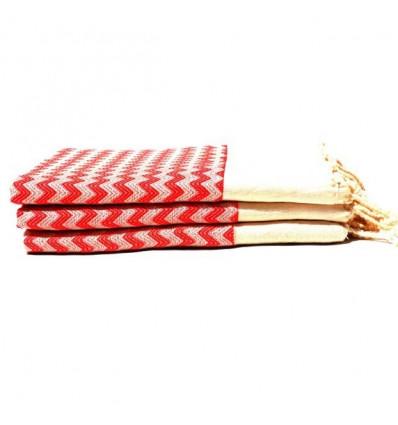 Fouta drap de bain : Beige & rouge
