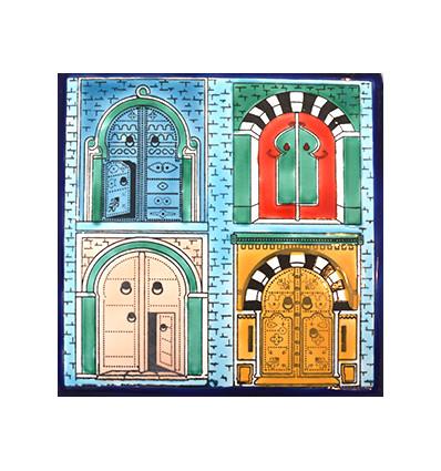 Tableau Murale Portes Sidi Bou Faience - Faience cuisine et tapis berbere tunisien