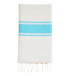 Fouta plate turquoise et blanche