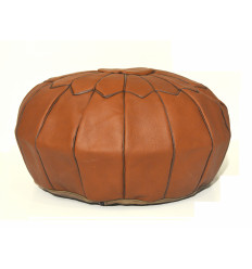 Leather pouf - Round leather ottoman brown