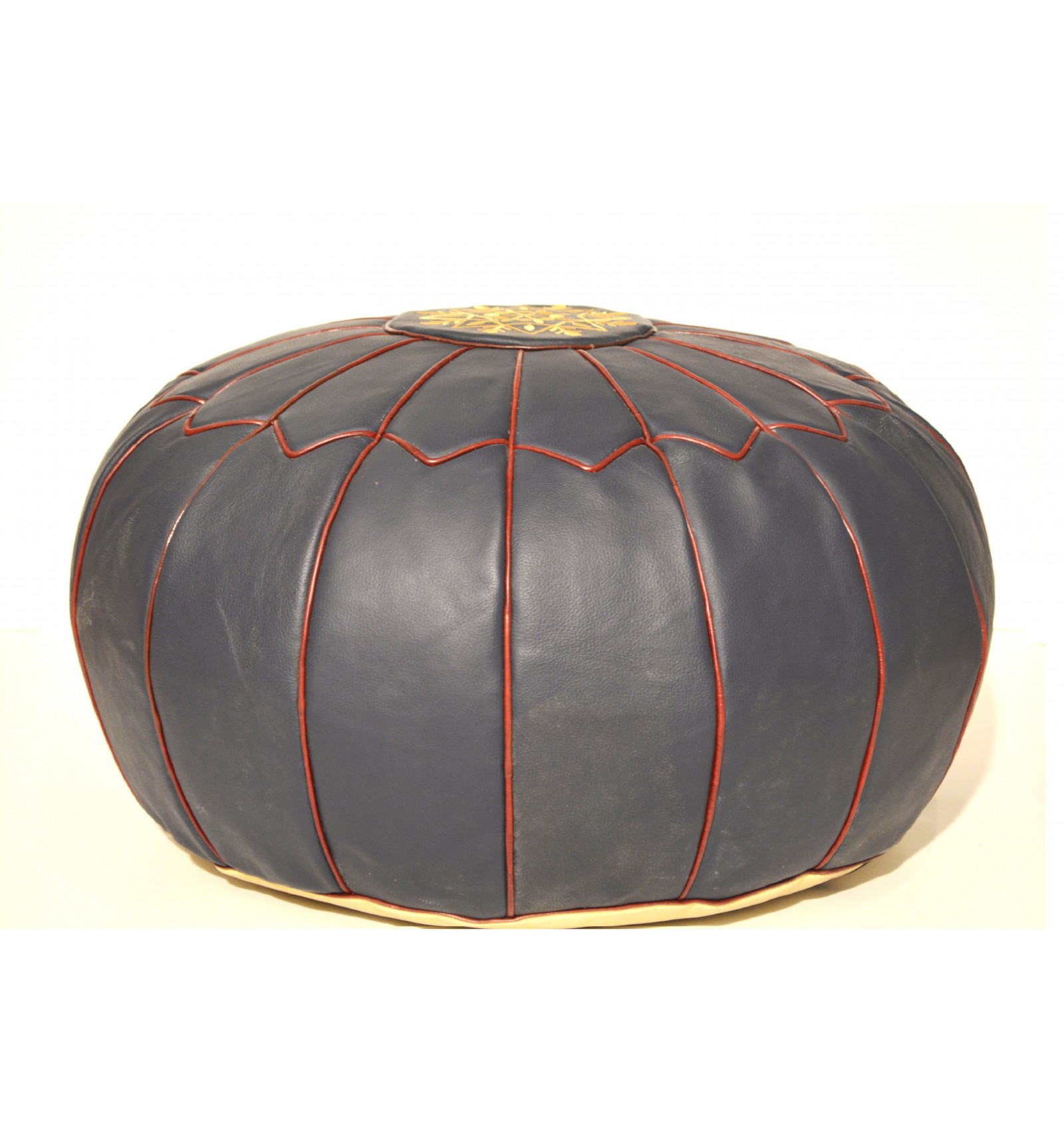 Pouf design - Pouf marocain en cuir bleu - Lartisanet