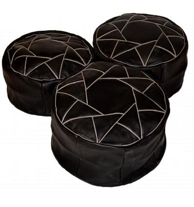 Leather pouf - Round leather ottoman Black