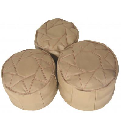 Lot 3 Pouf design - Pouf marocain en cuir gris - Lartisanet
