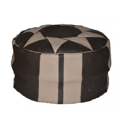 Black and White Handmade Moroccan Leather Pouf