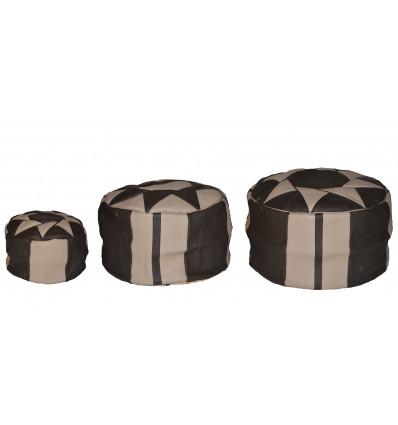 Lot 3 Pouf design - Pouf marocain en cuir Naturel & Noir - Lartisanet