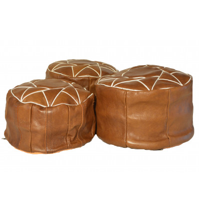 Lot 3 Pouf design - Pouf marocain en cuir marron - Lartisanet