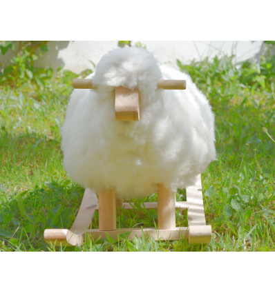 Large Wooden Plush Rocking Sheep