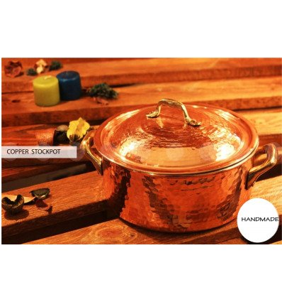 Hammered COPPER STOCKPOT with lid and twin handled – hammered copper STEWPOTS - hammered copper cookware