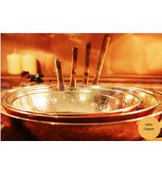 Poêle ronde en cuivre martelé - ustensiles de cuisine en cuivre -cuisson en cuivre