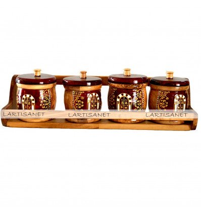 Olive wood Spice rack (4 Boxes)