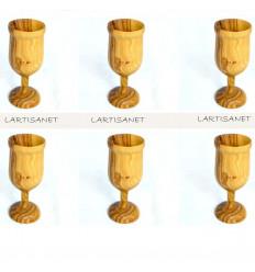 Verre en bois d'olivier (Lot de 6)