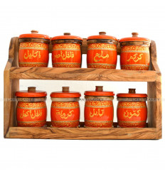 Spice rack in wooden (8 Pots)