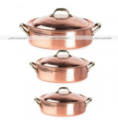 Hammered COPPER SAUTE PAN - copper sauteuse pan - copper cookware
