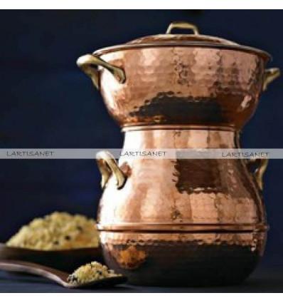 Hammered copper STEAMER POT - couscous pot -steamer pot - copper steaming pot