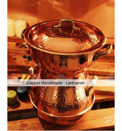 Hammered copper STEAMER POT - couscous pot -steamer pot - copper steaming pot