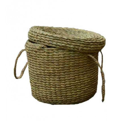 Wicker Lidded Baskets with Carrying Straps